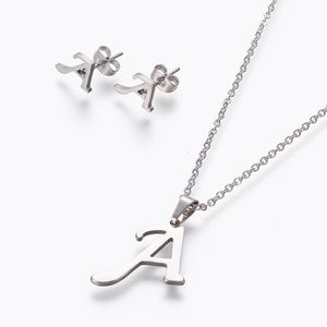 Letter 'A' Pendant Necklace and Earrings Set